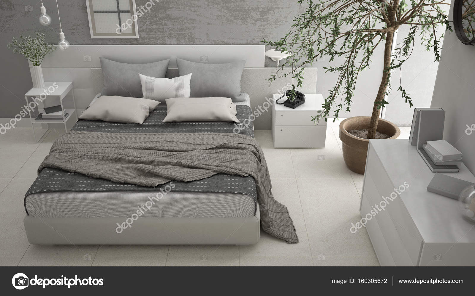 Letto E Cassettiera : Moderna camera da letto con finestra cassettiera con cassetti e