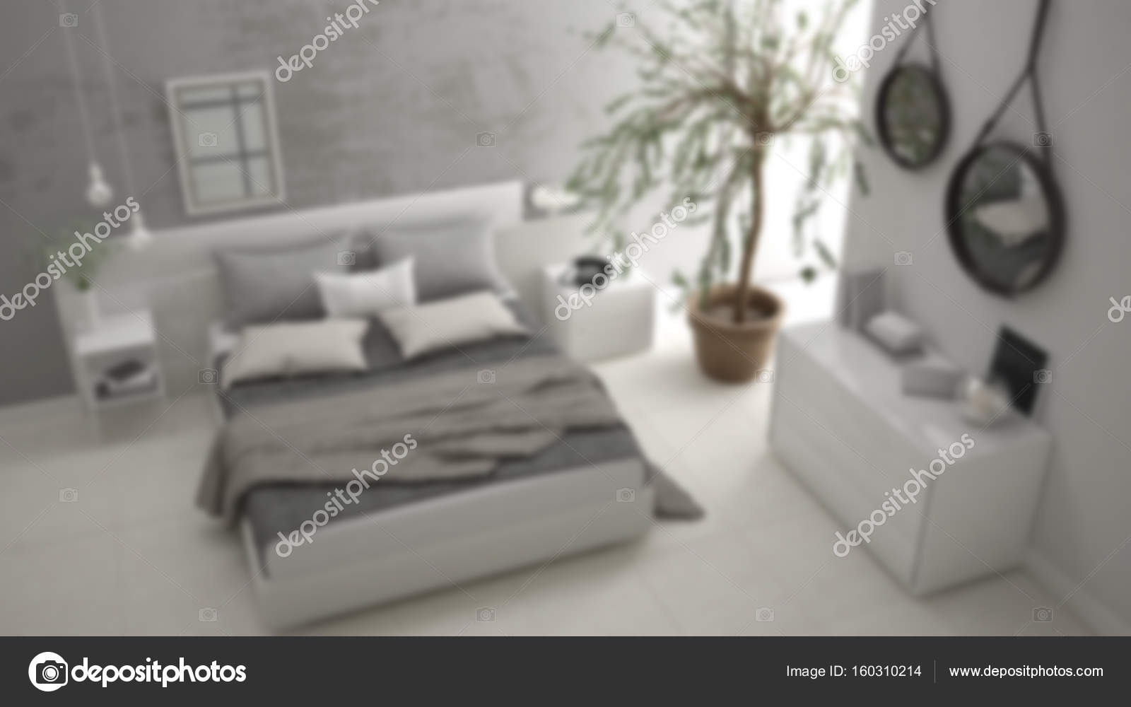 Modern Interieur Wit : Blur background interior design minimalistic modern bedroom wit