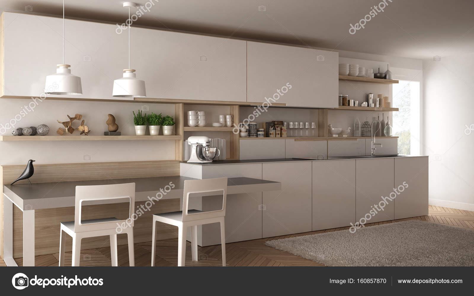 Minimalistische moderne keuken met houten details tafel en stoelen