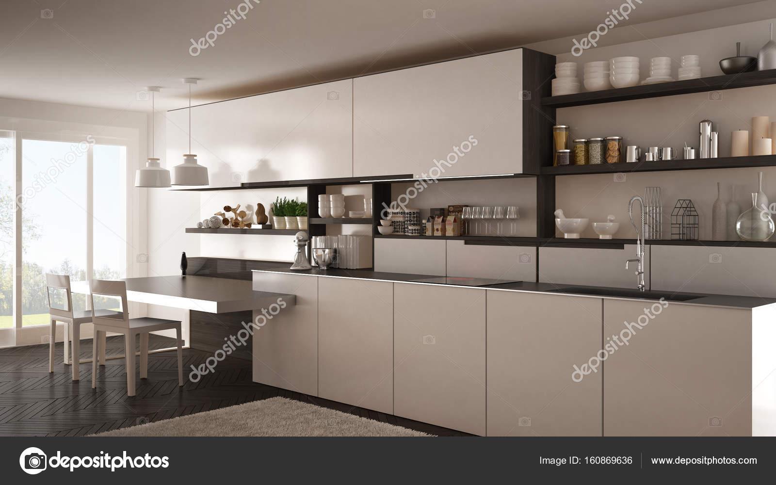 Cocina moderna minimalista con detalles de madera, mesa y ...