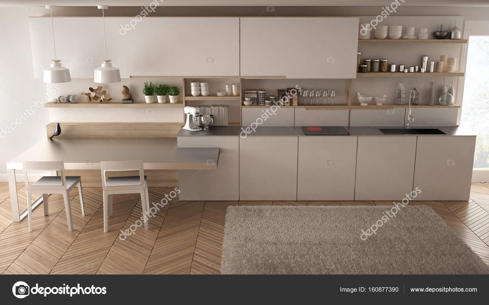 Cozinha Moderna Minimalista Com Detalhes Em Madeira Mesa E