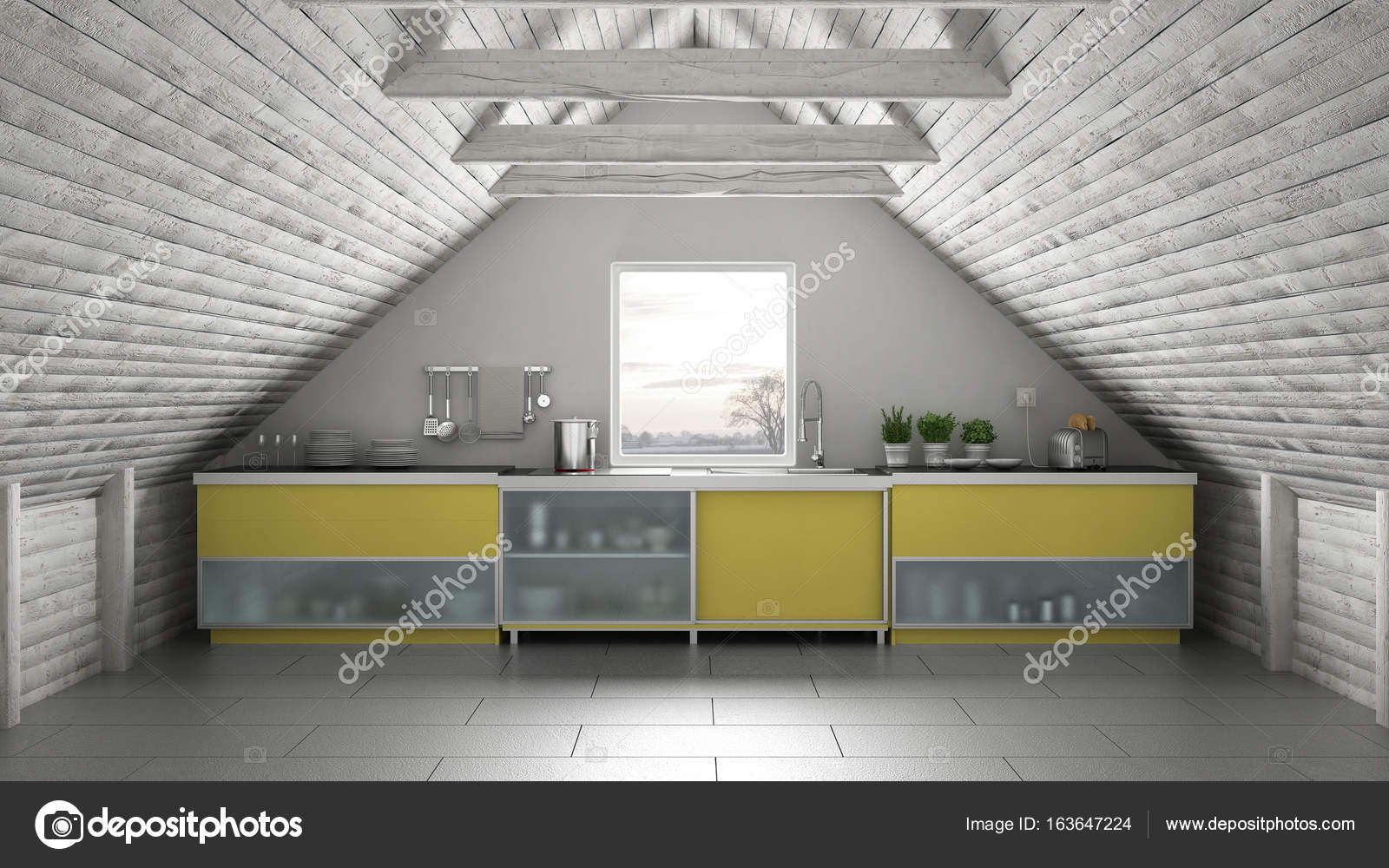 Cozinha Industrial Scandinavia Mezanino Do Loft Telhado