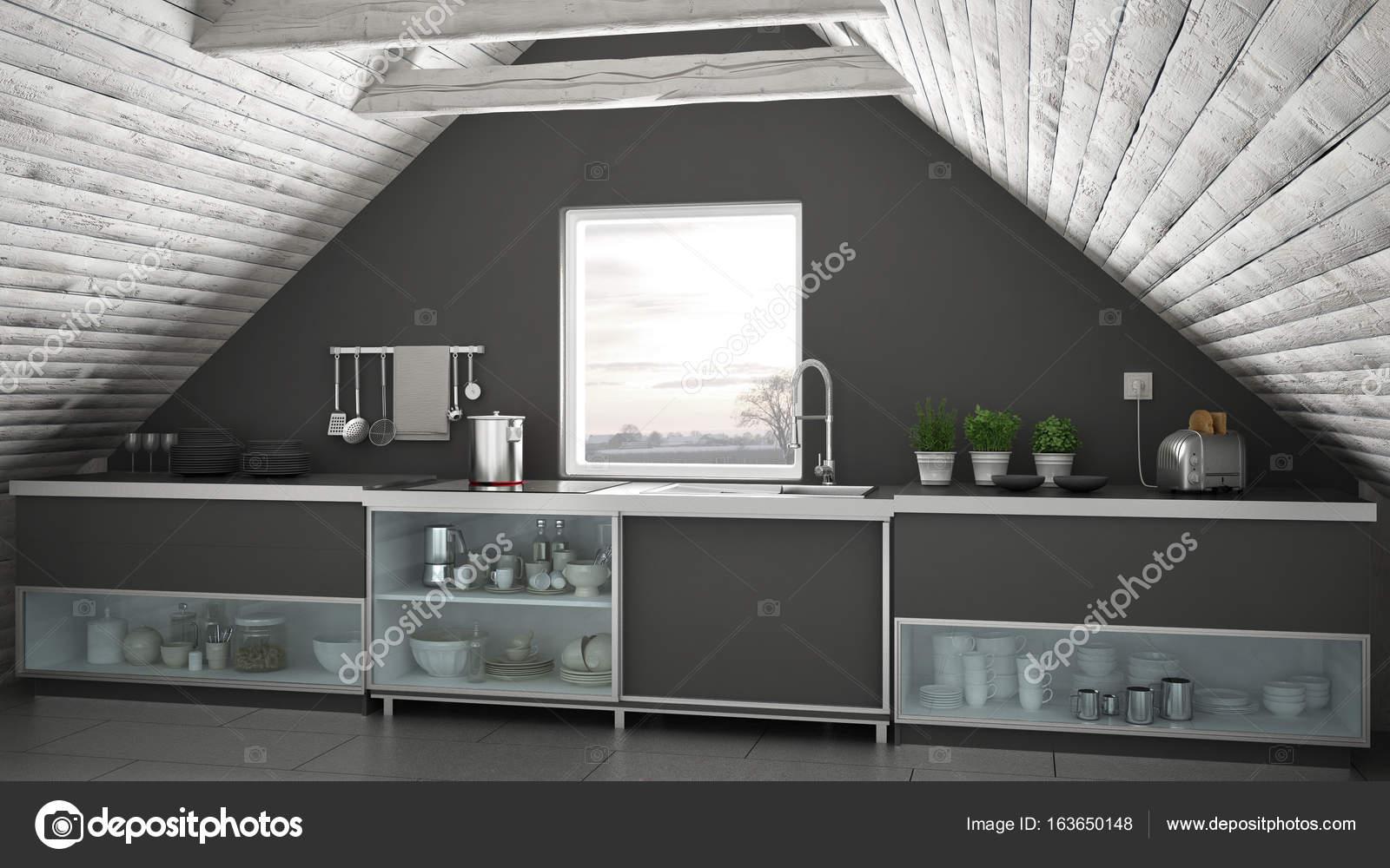 Escandinava Cozinha Industrial Mezanino Do Loft Telhado Architectu
