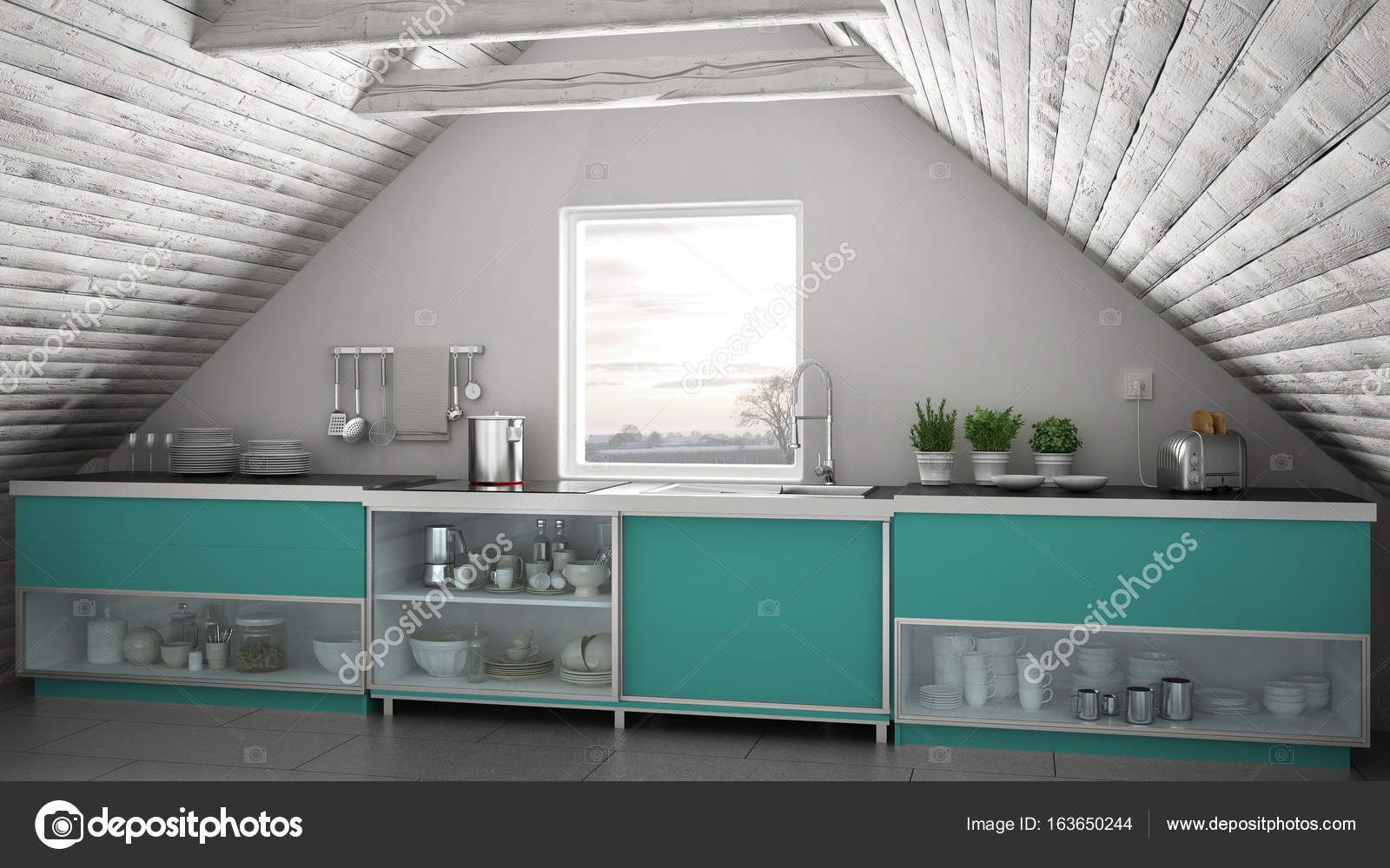 Skandinavische Großküche, Loft Mezzanine, Dach-Merkmal — Stockfoto ...