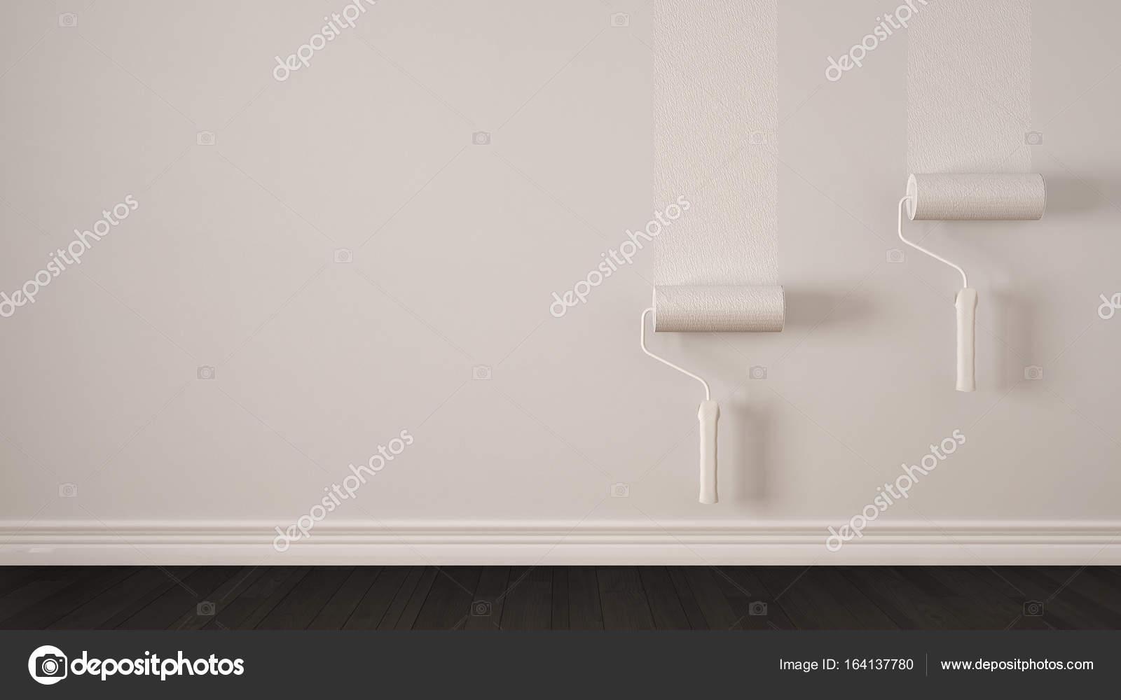 Lege ruimte met de verf rollen en geschilderde muur houten vloer