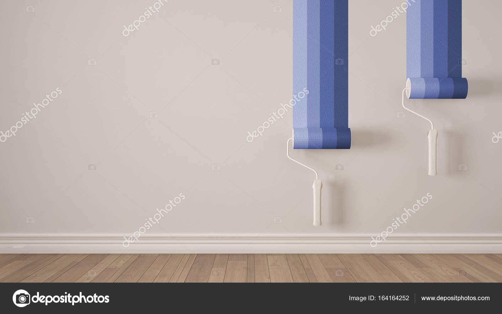 Verf Houten Vloer : Lege ruimte met de verf rollen en geschilderde muur houten vloer