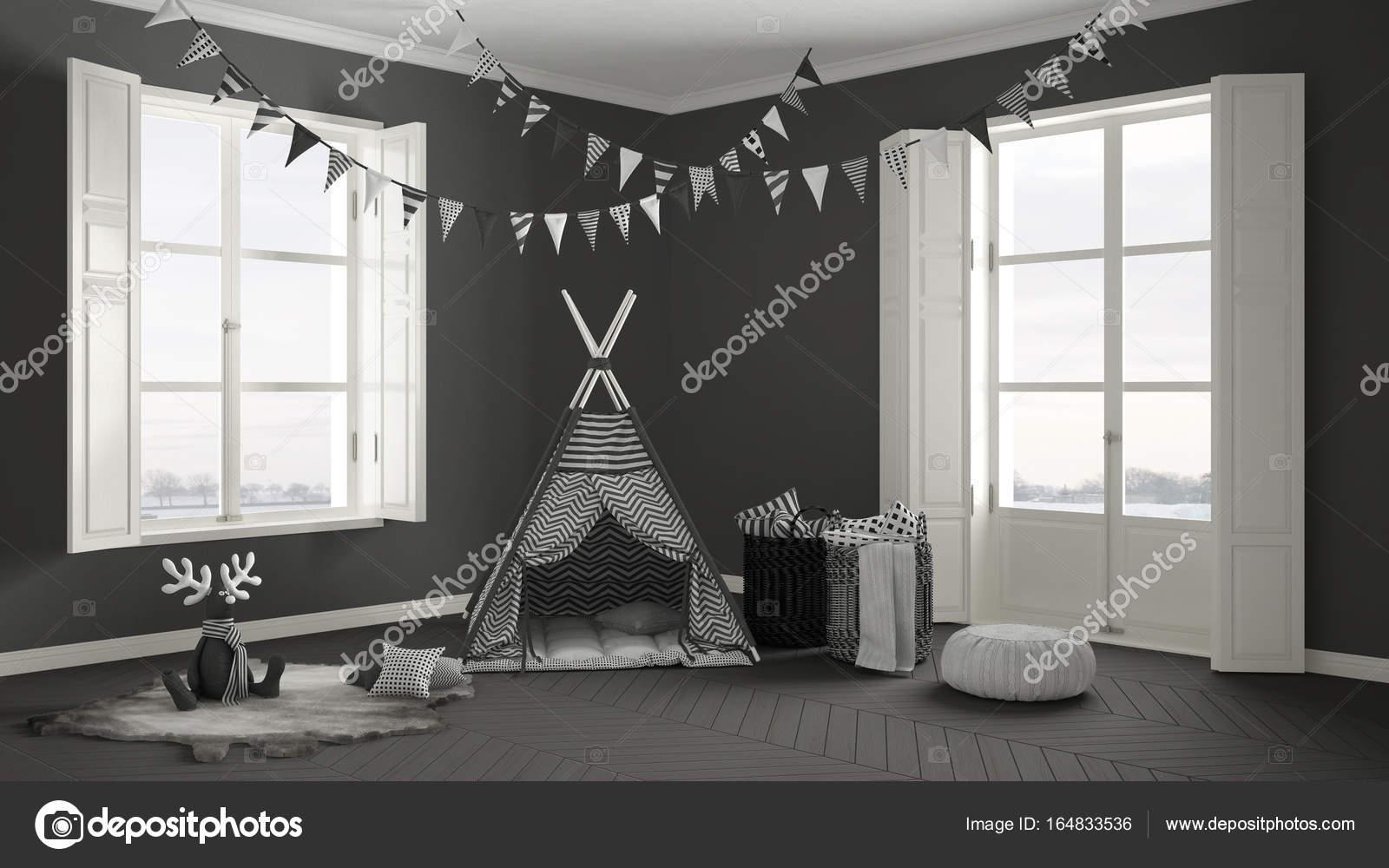 chambre enfant avec deux fen tre panoramique et tente tapis meubles photographie archiviz. Black Bedroom Furniture Sets. Home Design Ideas