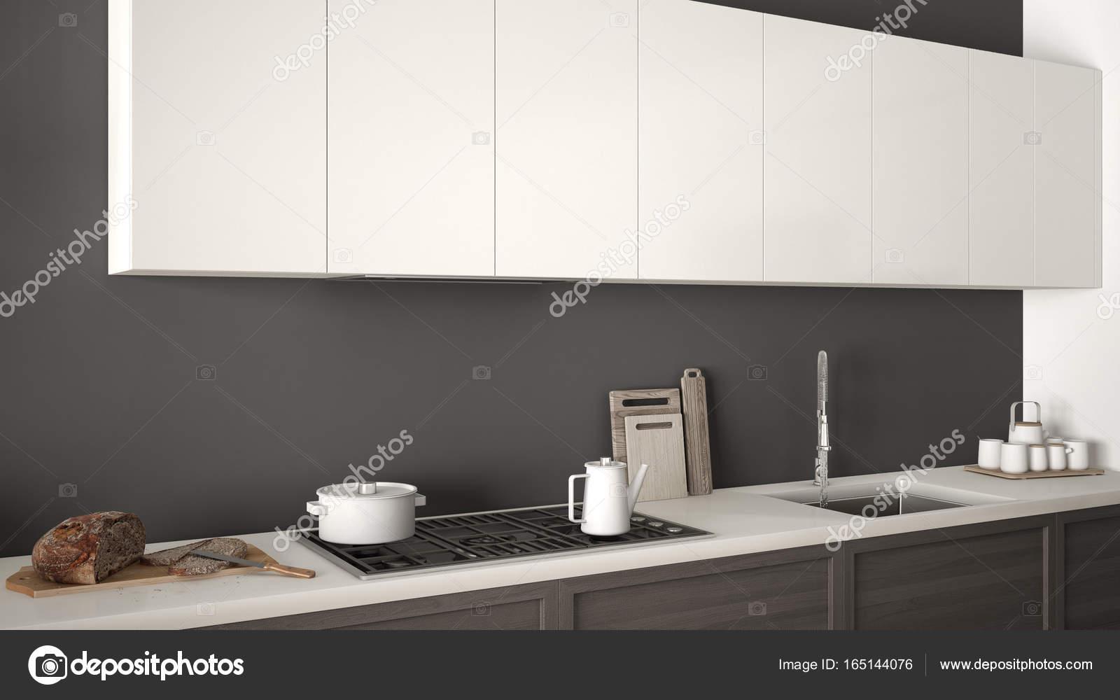 Cozinha Moderna Com Detalhes De Madeira Perto Acima Mini Branco E