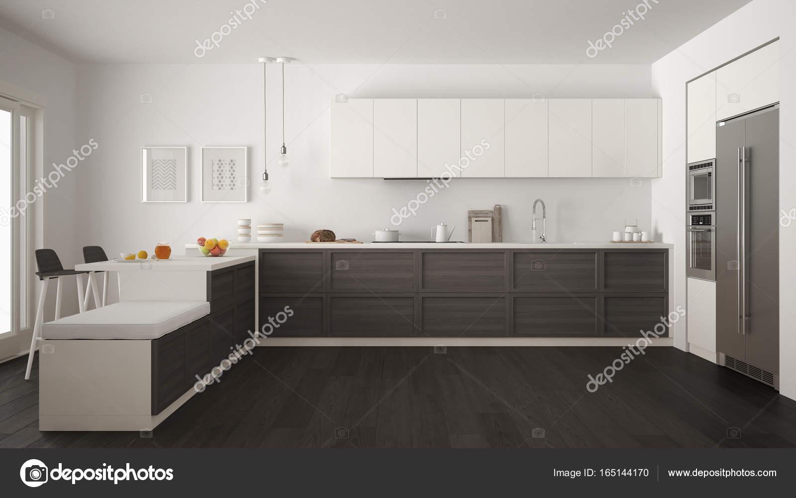 Cucina classica moderna con dettagli in legno e pavimento in parquet ...