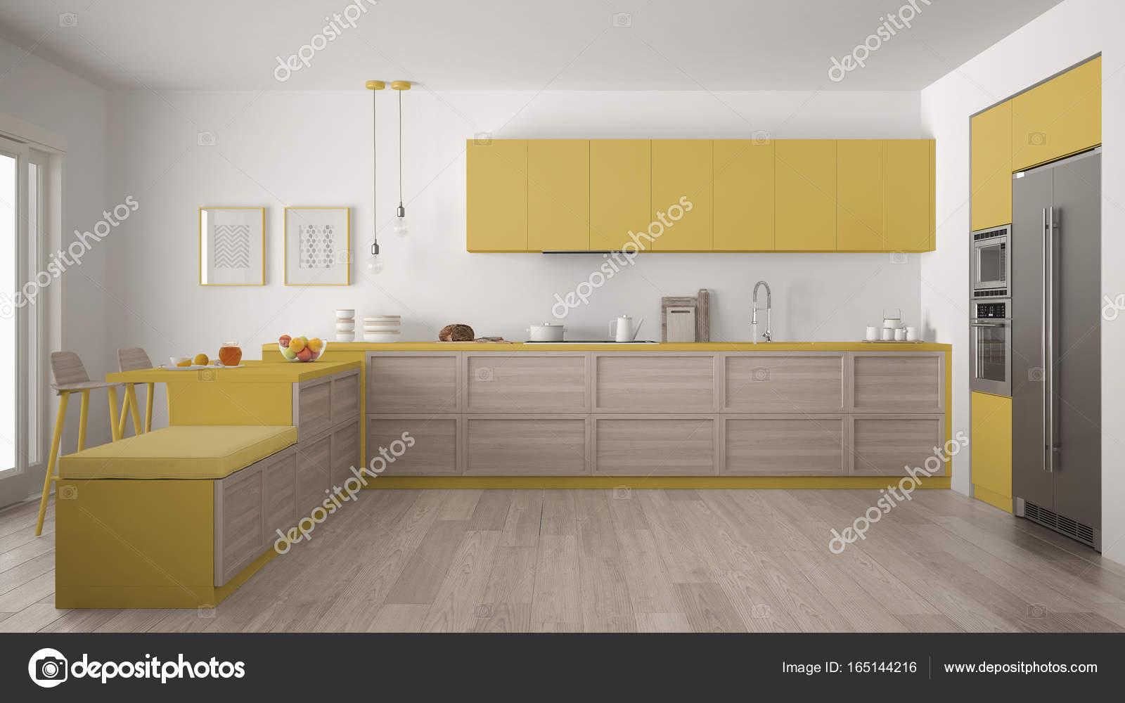 Klassische Moderne Kuche Mit Holzelementen Und Parkettboden Mi