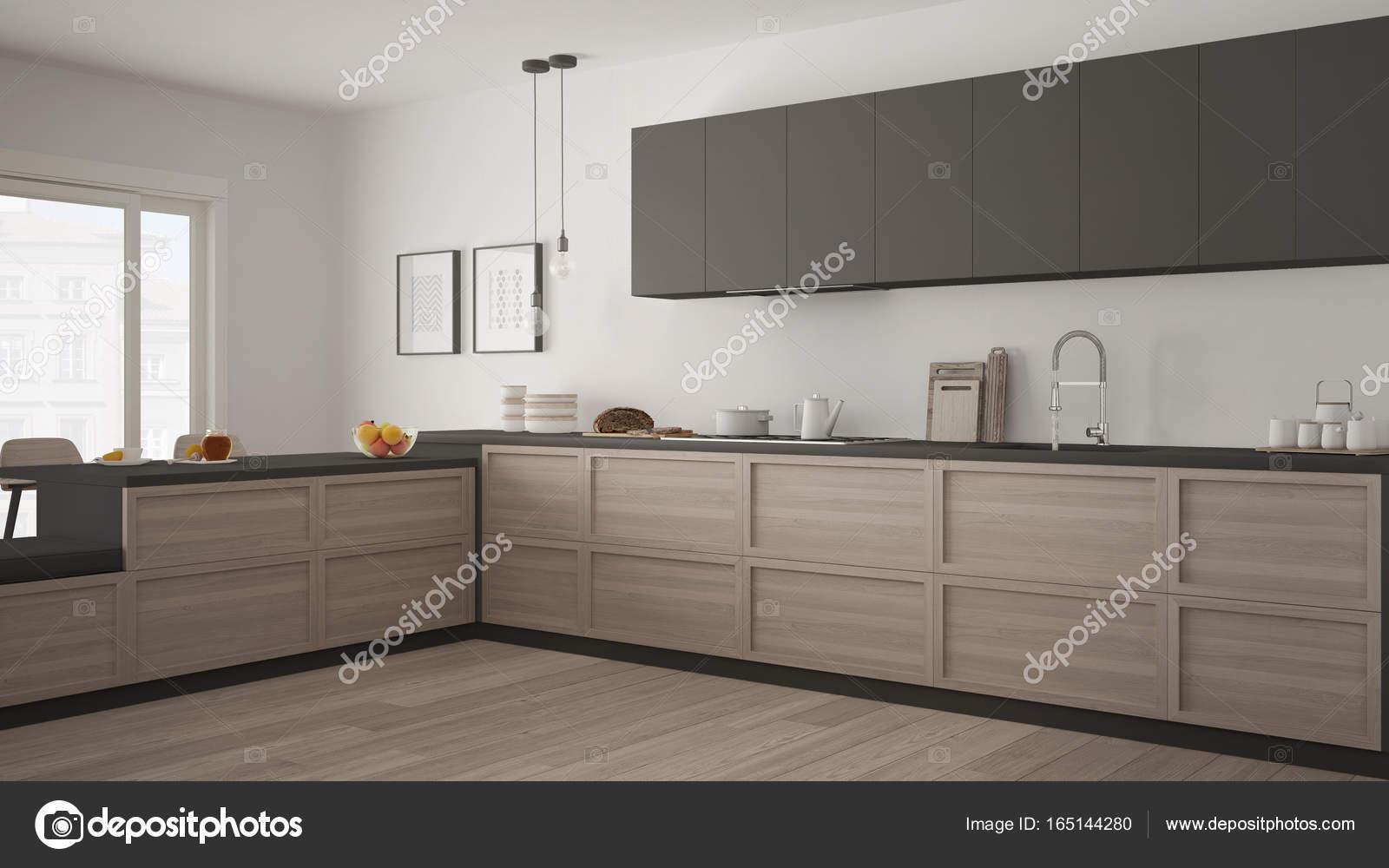 Klassieke keuken met houten details en parketvloer minimalis
