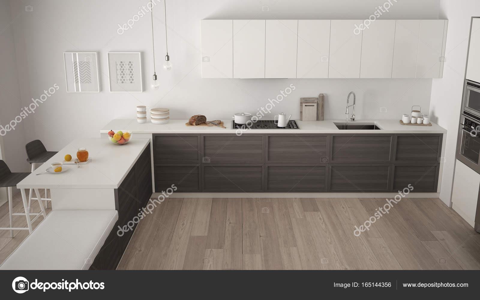Cozinha Moderna Com Detalhes Em Madeira E Piso Em Parquet