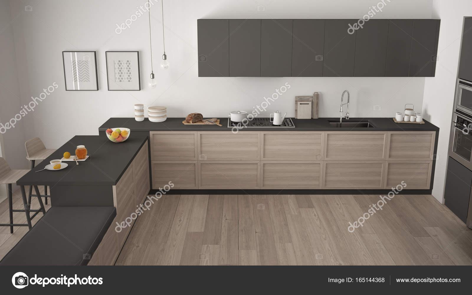 Cucina moderna con dettagli in legno e pavimento in parquet ...