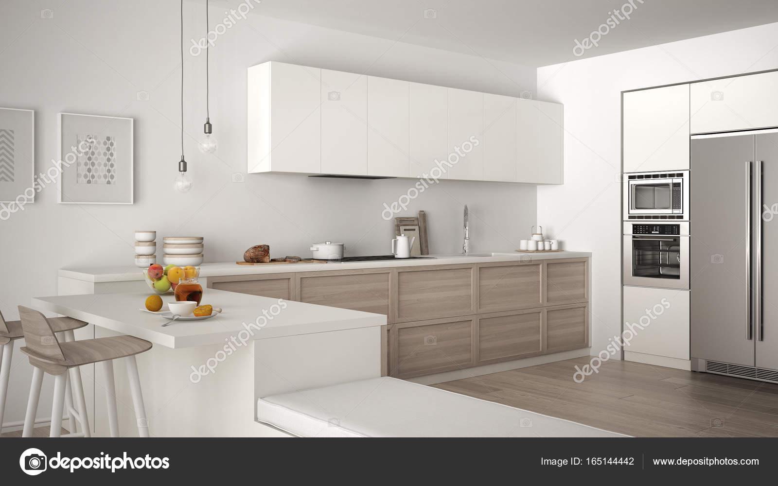 Klassieke keuken met houten details en parketvloer gezonde b