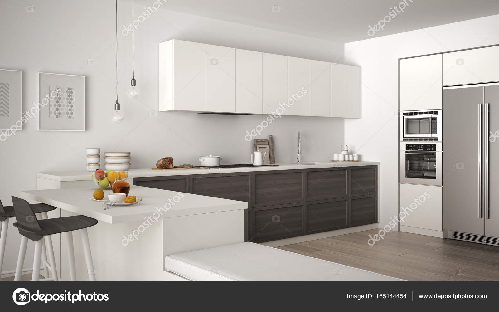 Classic kitchen with wooden details and parquet floor, healthy b ...