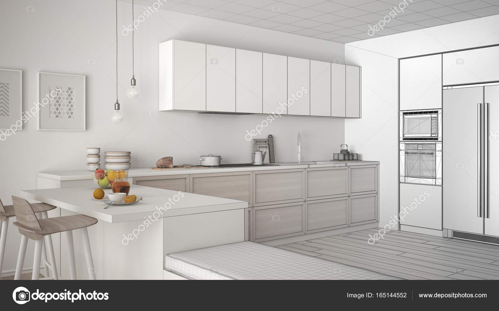 Progetto incompiuto di cucine classiche con dettagli in legno e pa ...