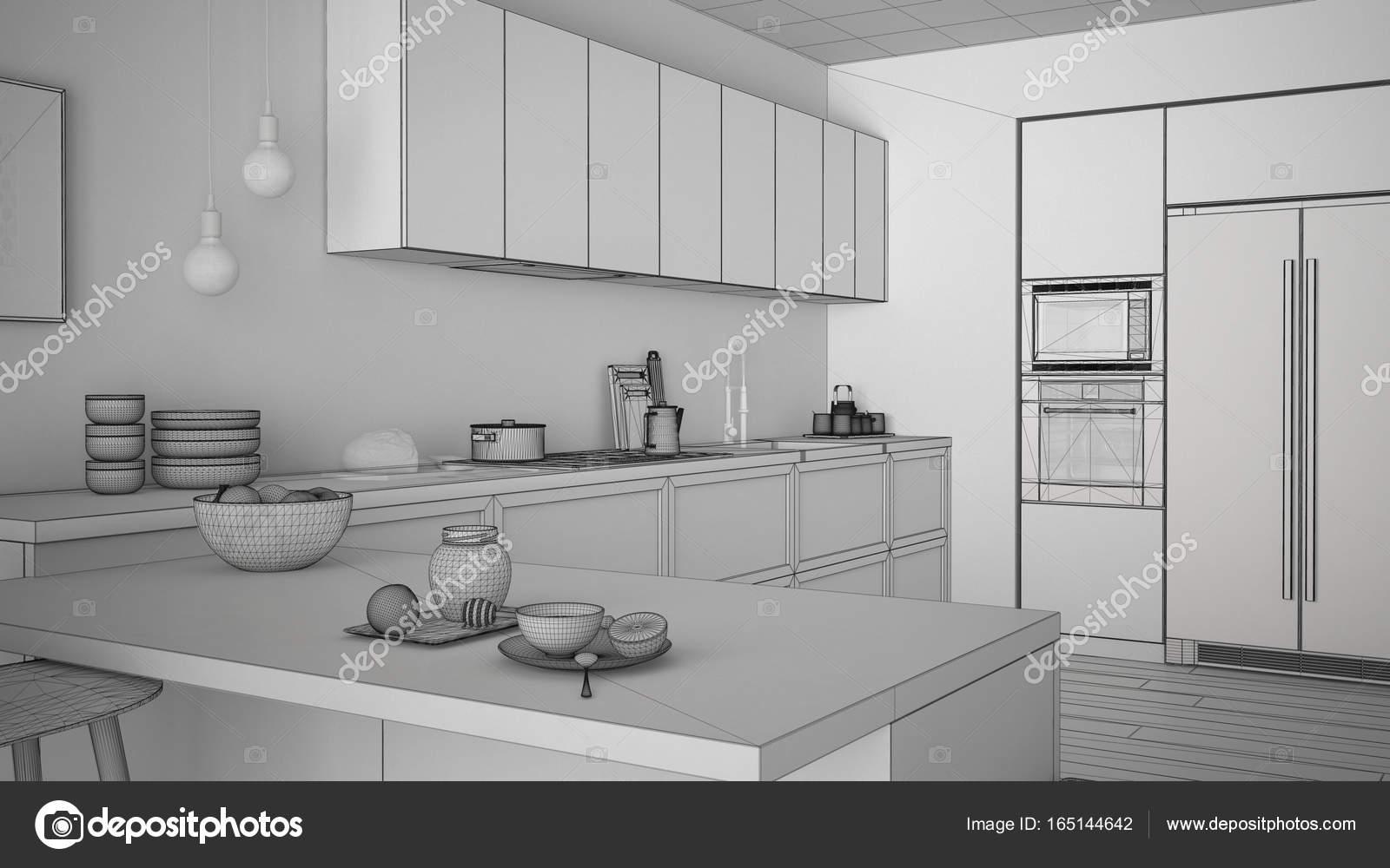 Onvoltooide project van de klassieke keuken met houten details en