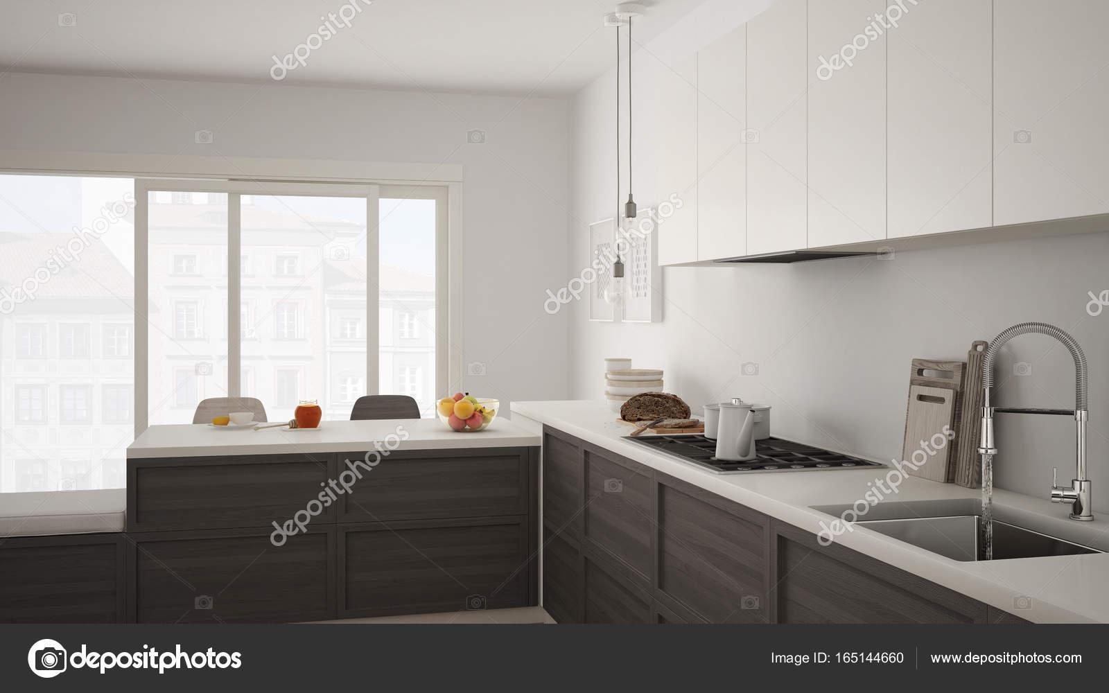 Cozinha Moderna Com Detalhes Em Madeira E Piso Em Parquet Br