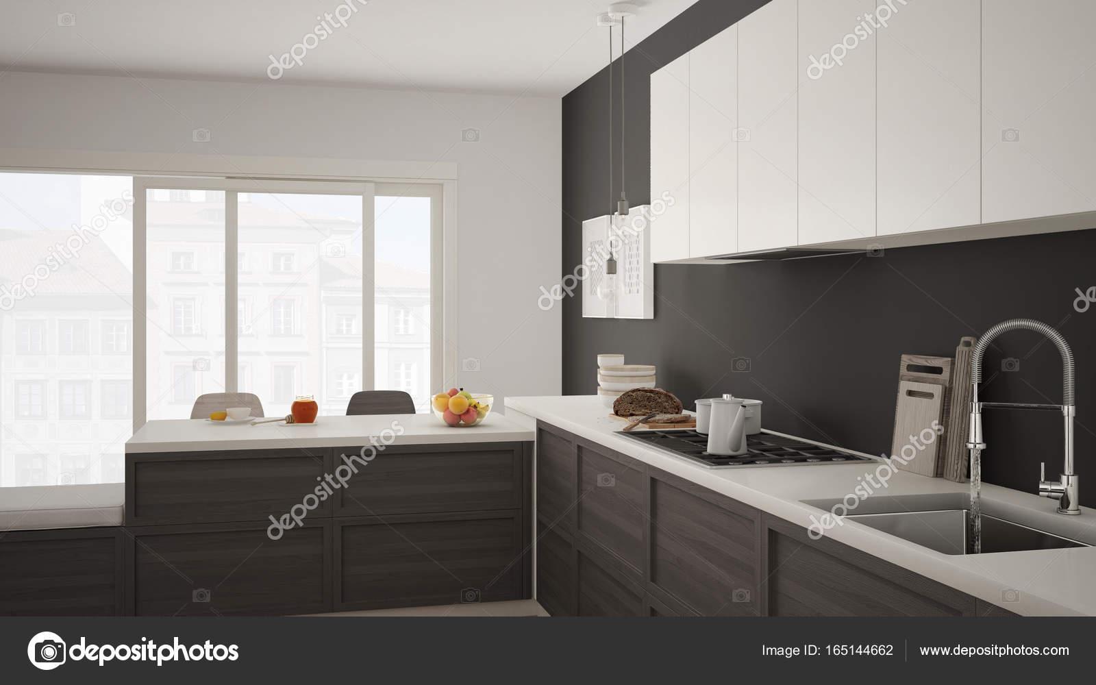 Cucina moderna con dettagli in legno e pavimento in parquet, sano br ...