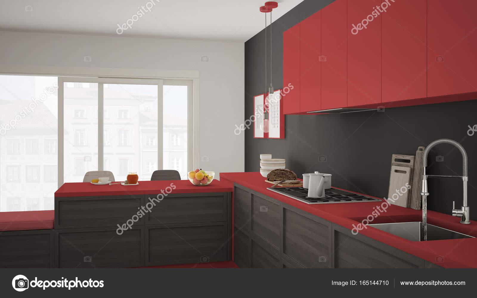 Cozinha Moderna Com Detalhes Em Madeira E Piso Em Parquet Br  ~ Cozinha Cinza Com Vermelho