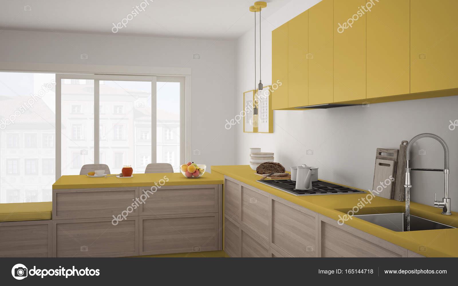 Modern kitchen with wooden details and parquet floor, healthy br ...