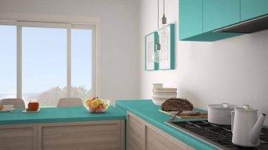 Modern kitchen with wooden details and parquet floor, healthy br