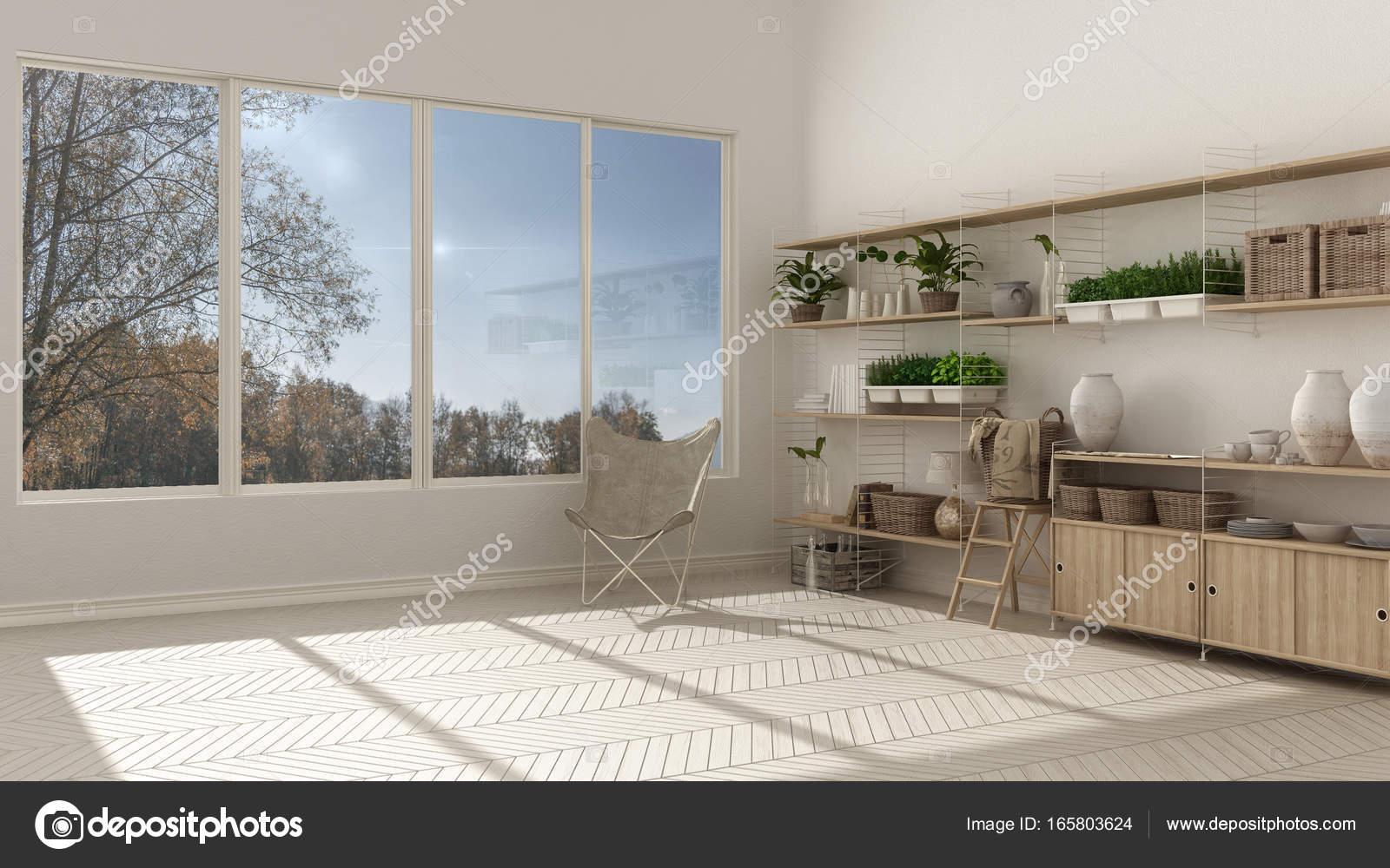 eco witte interieur met houten boekenkast diy verticale ga stockfoto