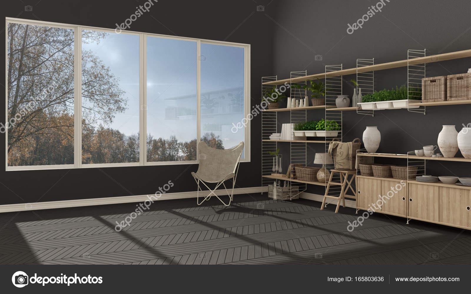 eco grijze interieur met houten boekenkast diy verticale gar stockfoto