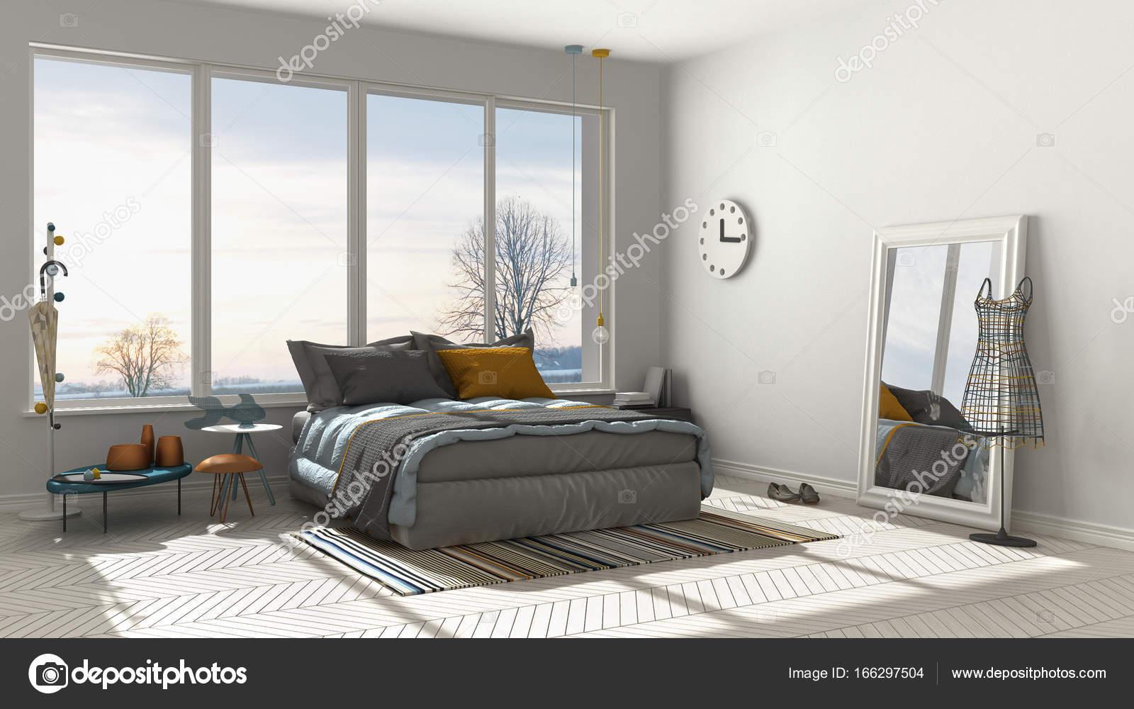 Camera da letto bianca moderna colorata con grande finestra ...