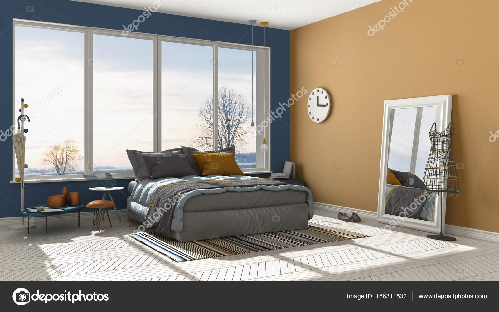 Colored Modern Blue And Orange Bedroom With Big Panoramic Window Sunset Sunrise Architecture Minimalist Interior Design Photo By ArchiVIz