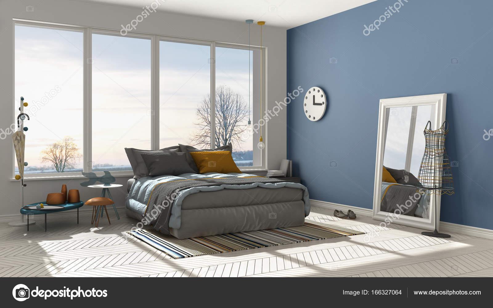 Colorata camera da letto moderna bianca e blu con grande ...