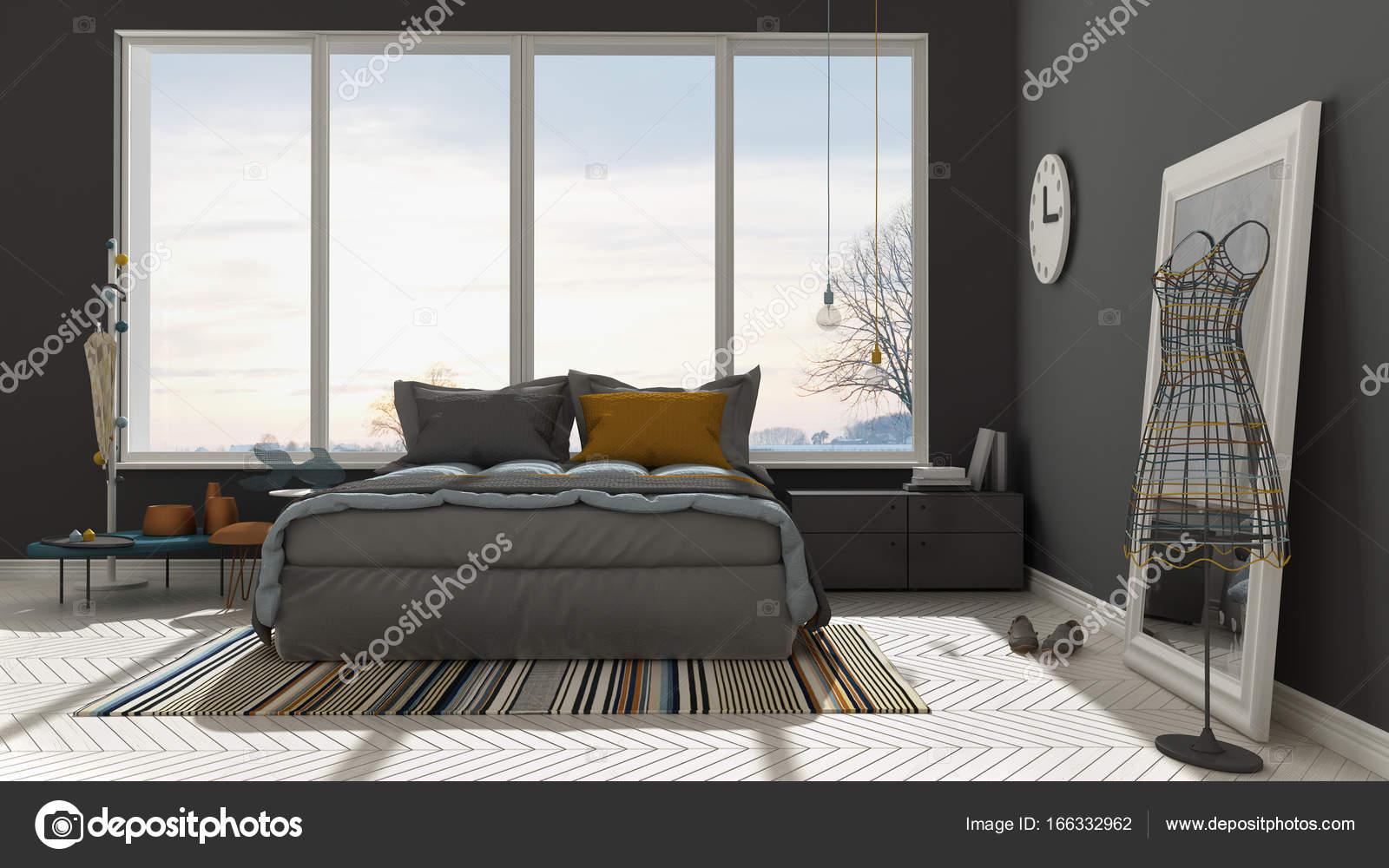 Colorata camera da letto moderna bianca e grigia con grande ...