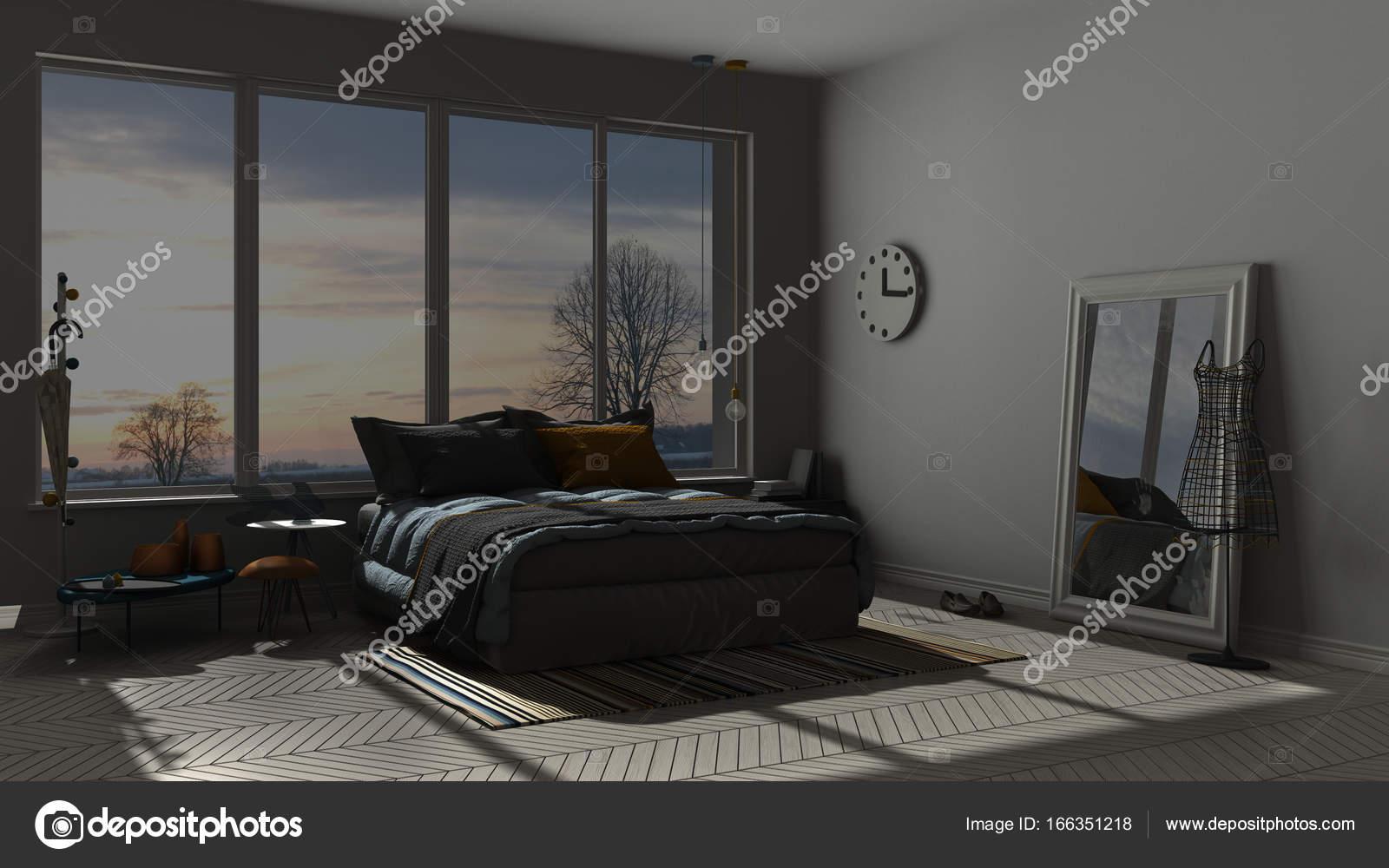 Colored Modern Blue And Orange Bedroom With Big Panoramic Window Sunset Sunrise Night Scene Architecture Minimalist Interior Design Photo By ArchiVIz