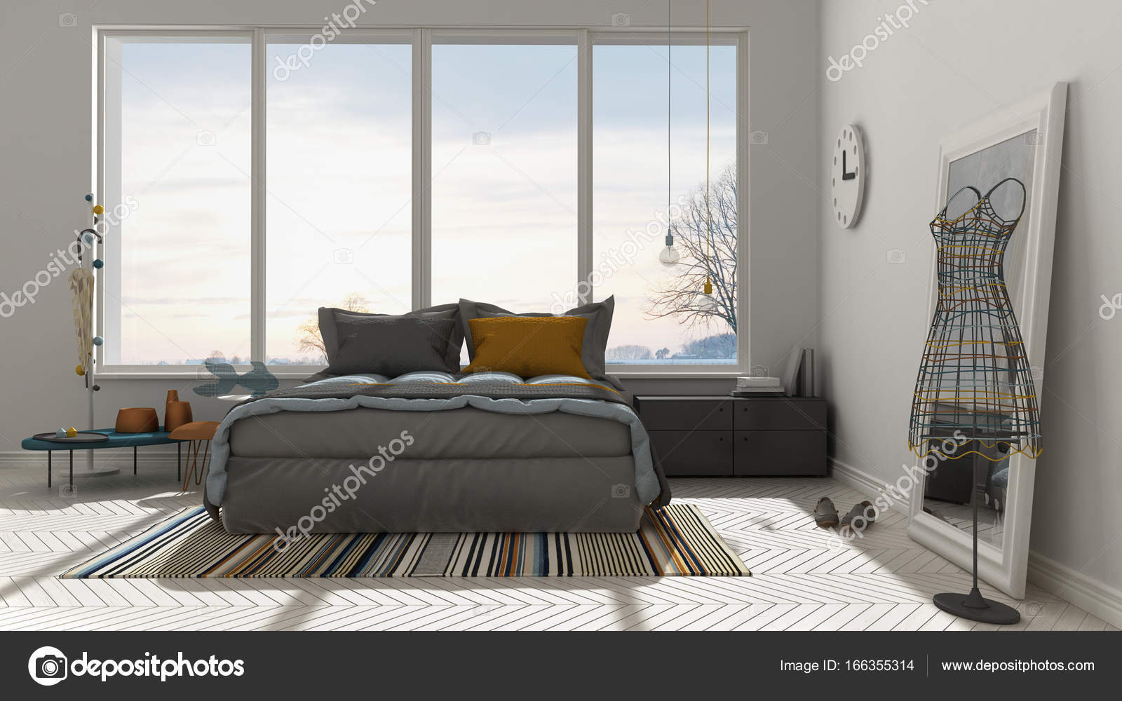 Colored modern white bedroom with big panoramic window ...