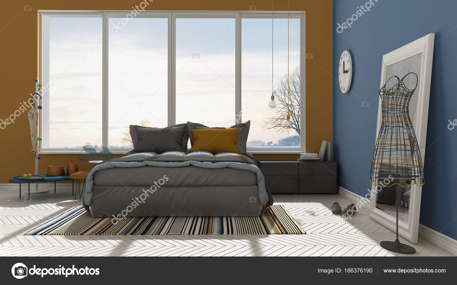Farbige moderne blau und orange Schlafzimmer mit großen Panorama ...