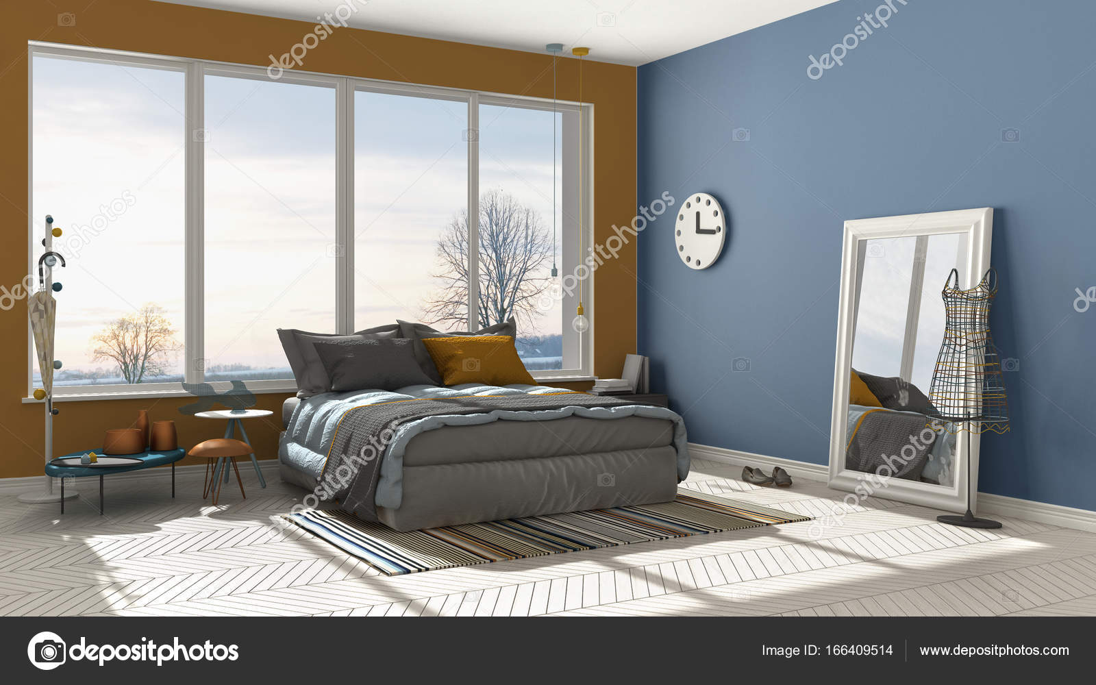 Orange grey and blue bedroom | Colored modern blue and ...