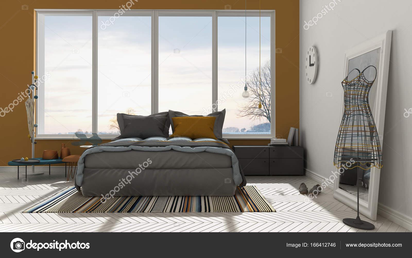 Couleur moderne chambre blanche et orange avec grand ...