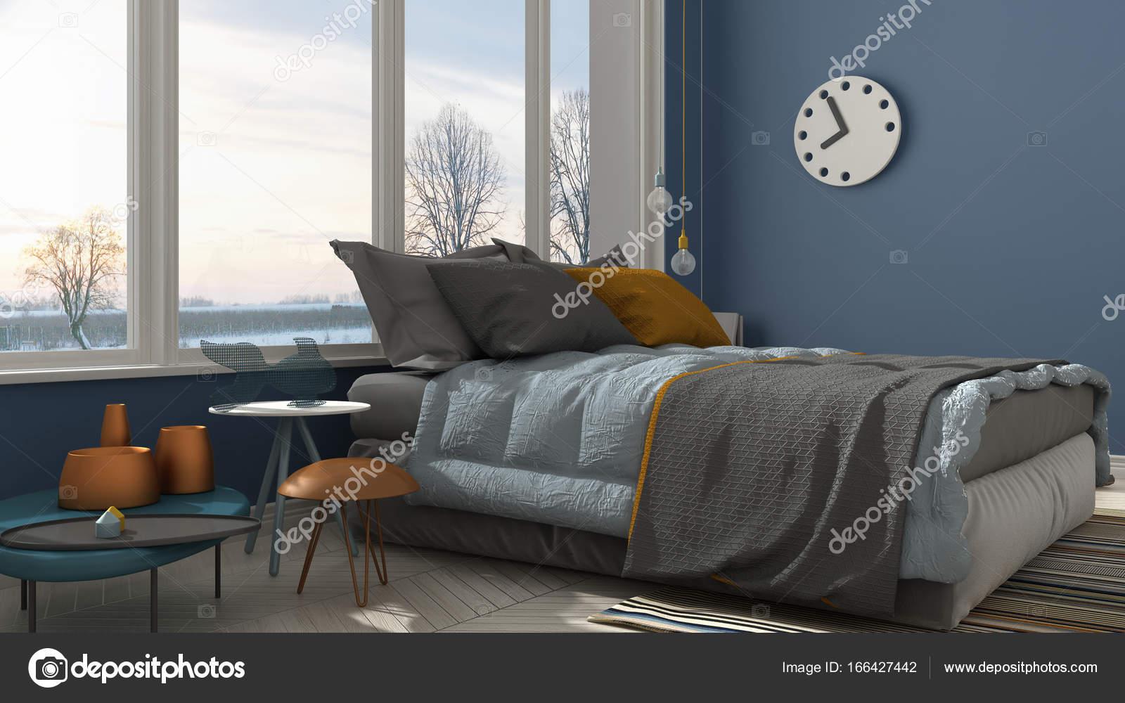 パノラマ ビューの大きな窓、日没、s ブルー現代寝室の色 ...