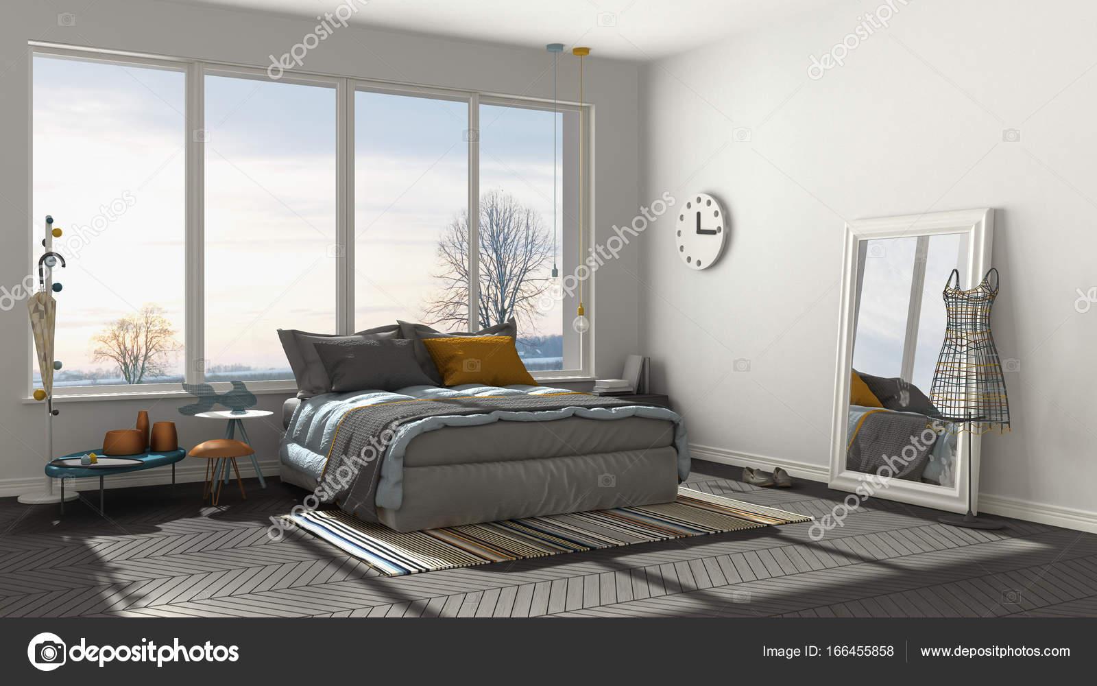 Colorata camera da letto moderna bianca e grigia con grande finestra ...