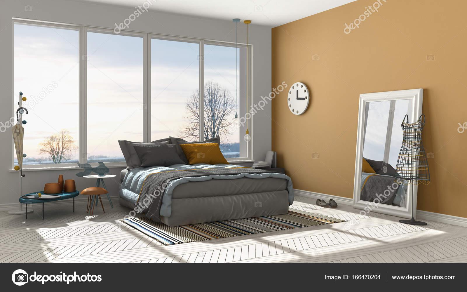 Exceptionnel Couleur Moderne Orange Et Blanche Chambre Avec Grande Fenêtre Panoramique,  Coucher De Soleil, Aube, Architecture Minimaliste Interior Design U2014 Image  De ...