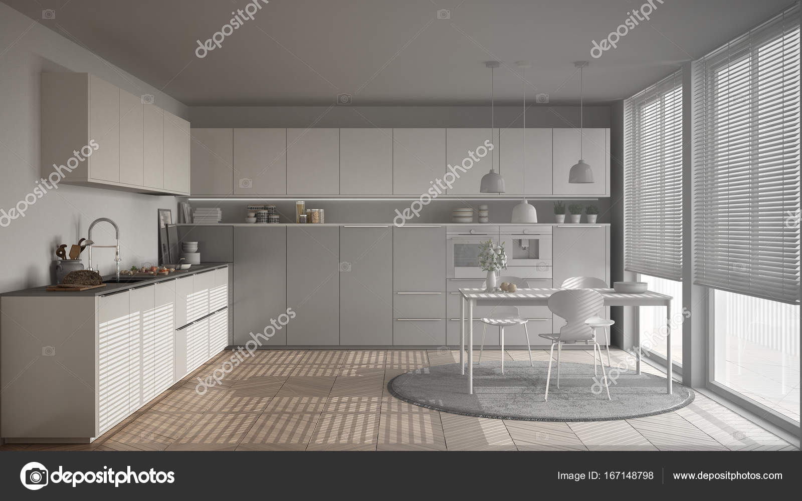 Progetto incompiuto di cucina moderna con tavolo e sedie, grande ...