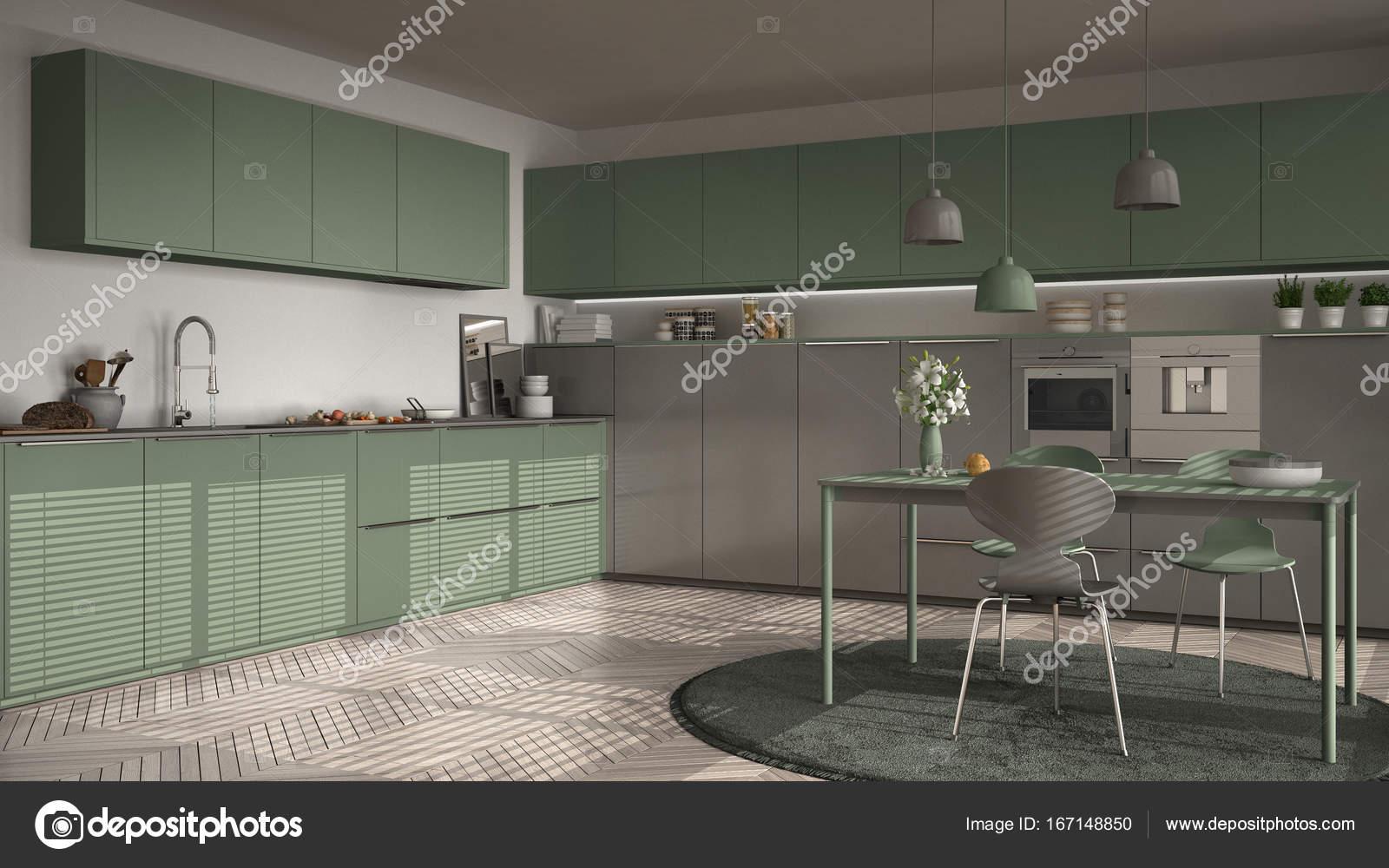 Cocina con mesa y sillas, ventanas grandes y herringbon — Fotos de ...