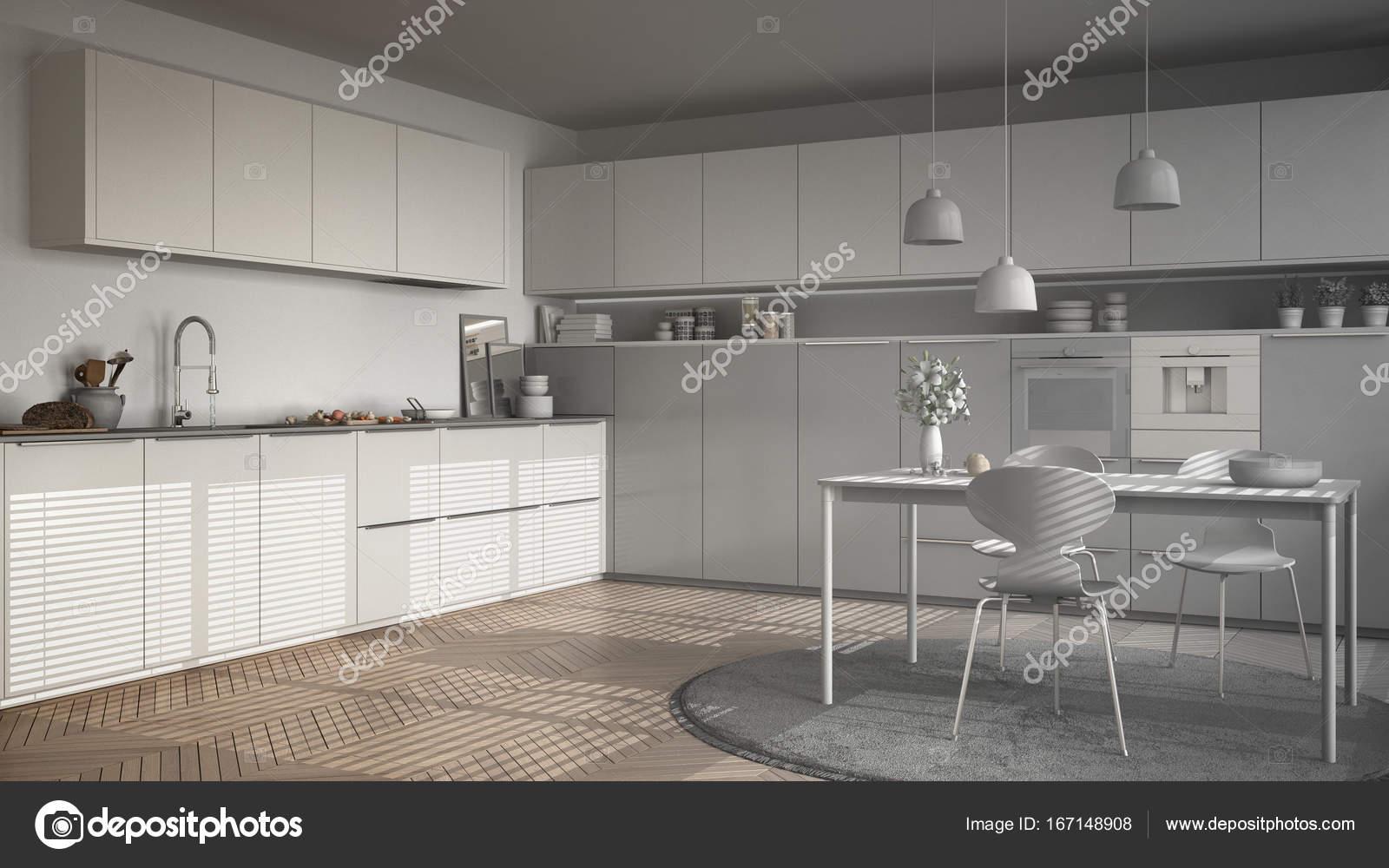 Projeto Inacabado Da Moderna Cozinha Com Mesa E Cadeiras Herr