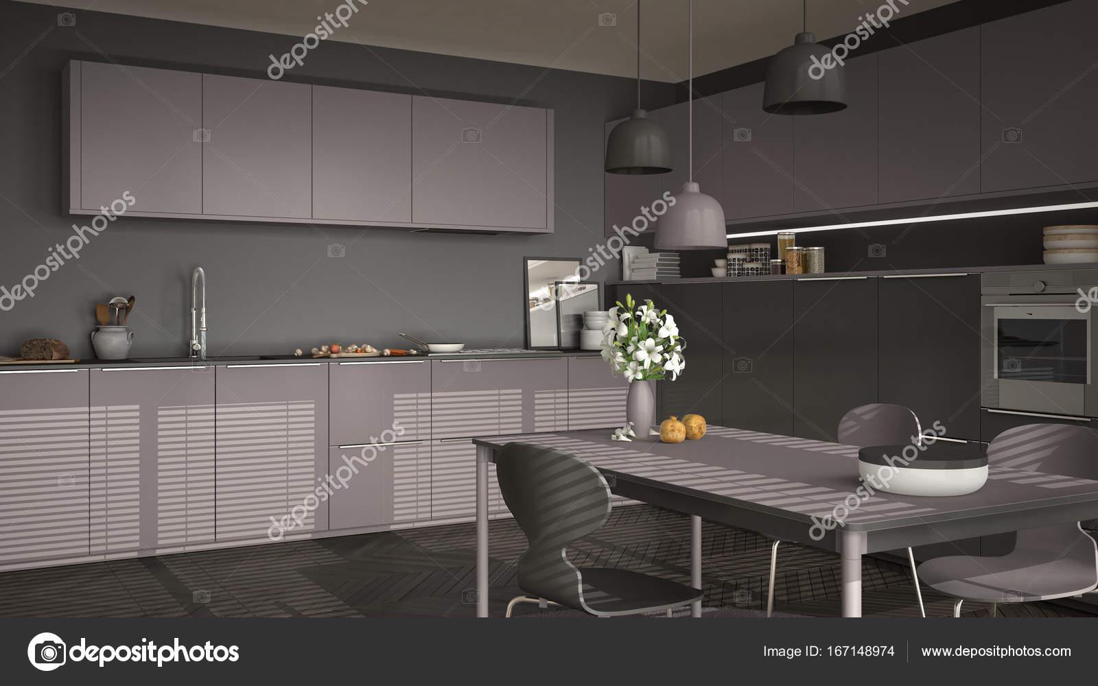 Cozinha Moderna Com Mesa E Cadeiras Janelas Grandes E Herringbon