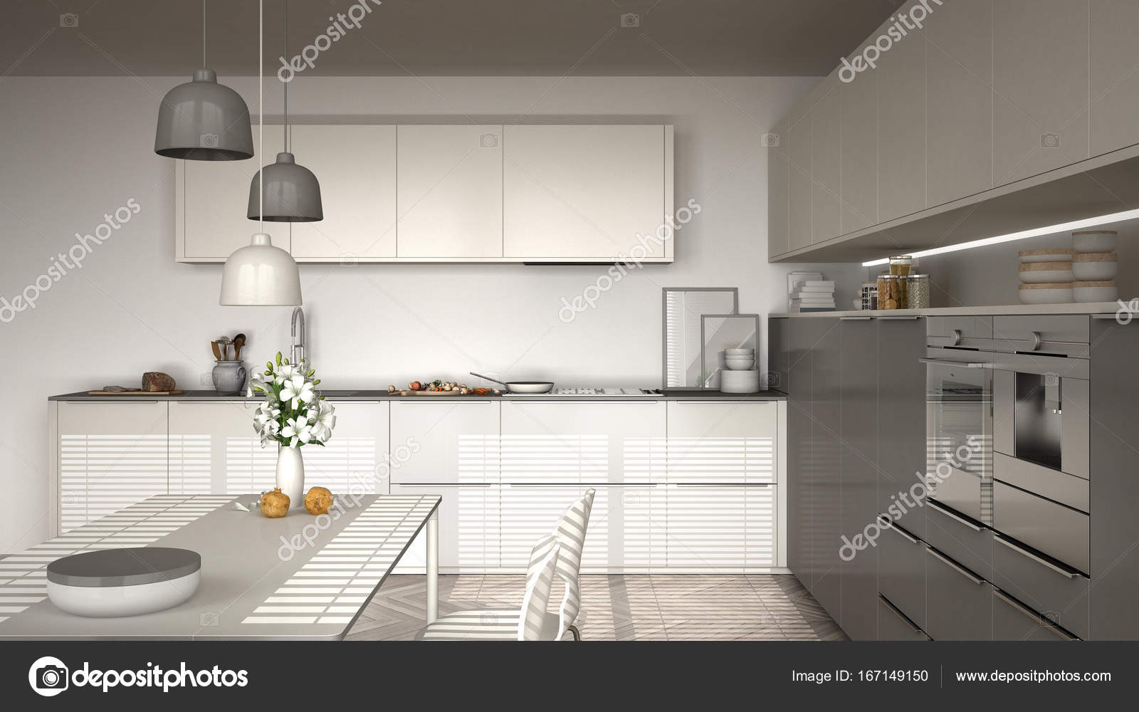 Modern kitchen with table and chairs, herringbone parquet floor ...