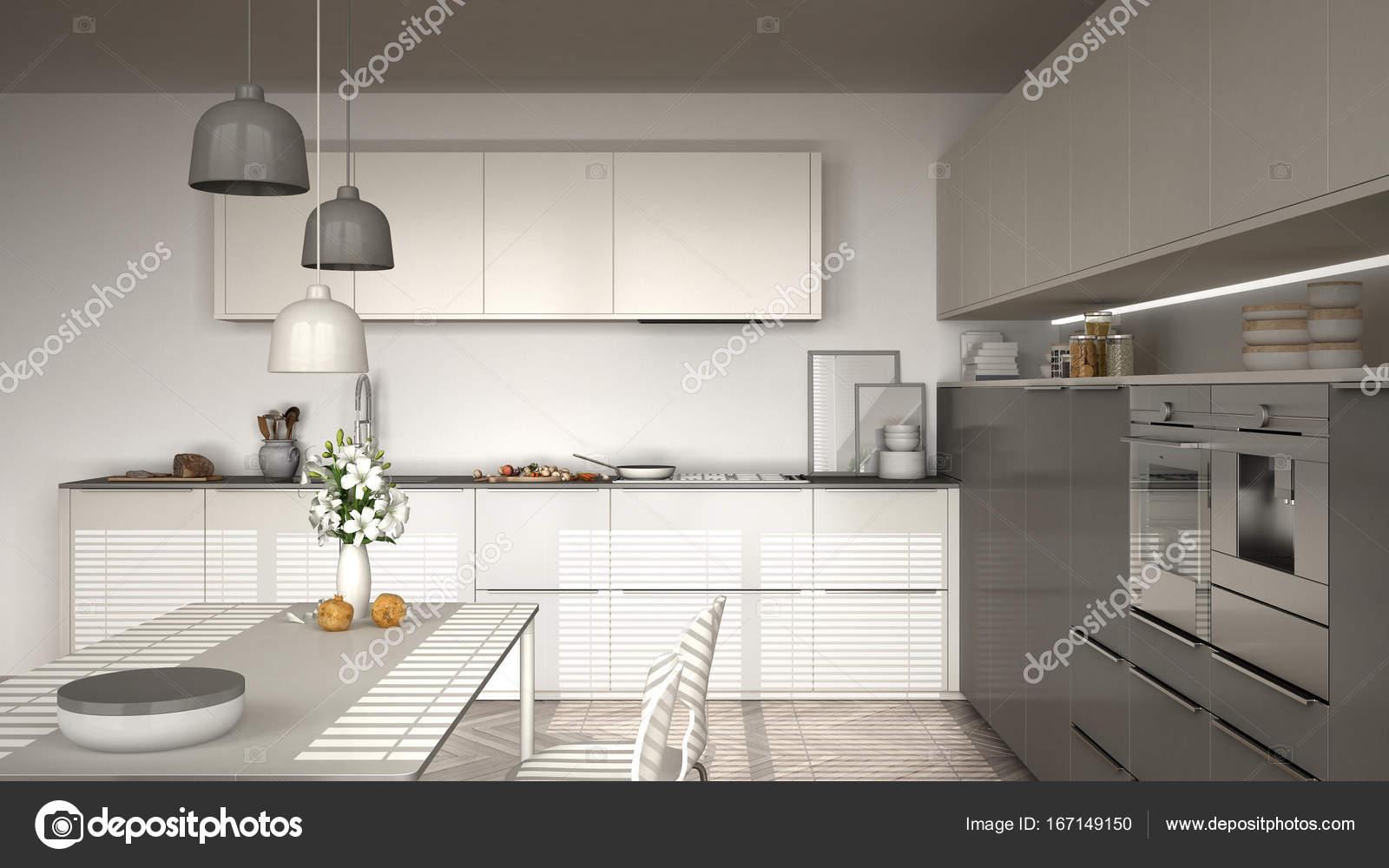 Moderne keuken met tafel en stoelen visgraat parket u stockfoto