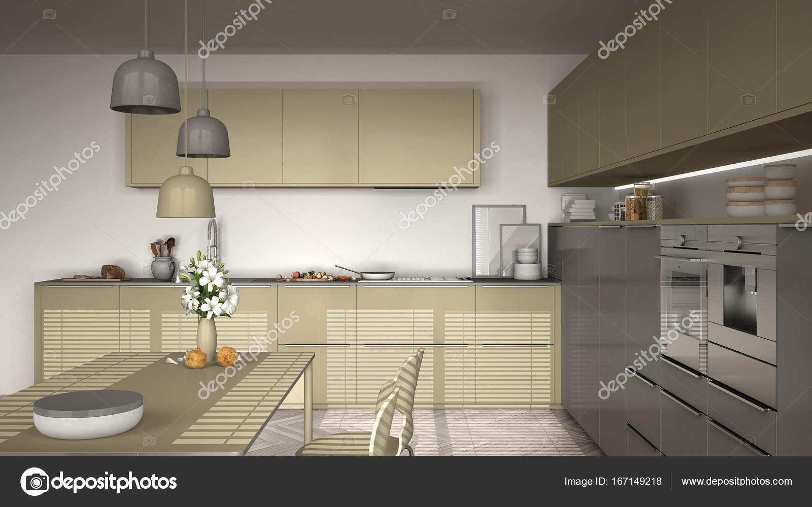 Moderne Küche mit Tisch und Stühlen, Fischgrät-Parkett — Stockfoto ...