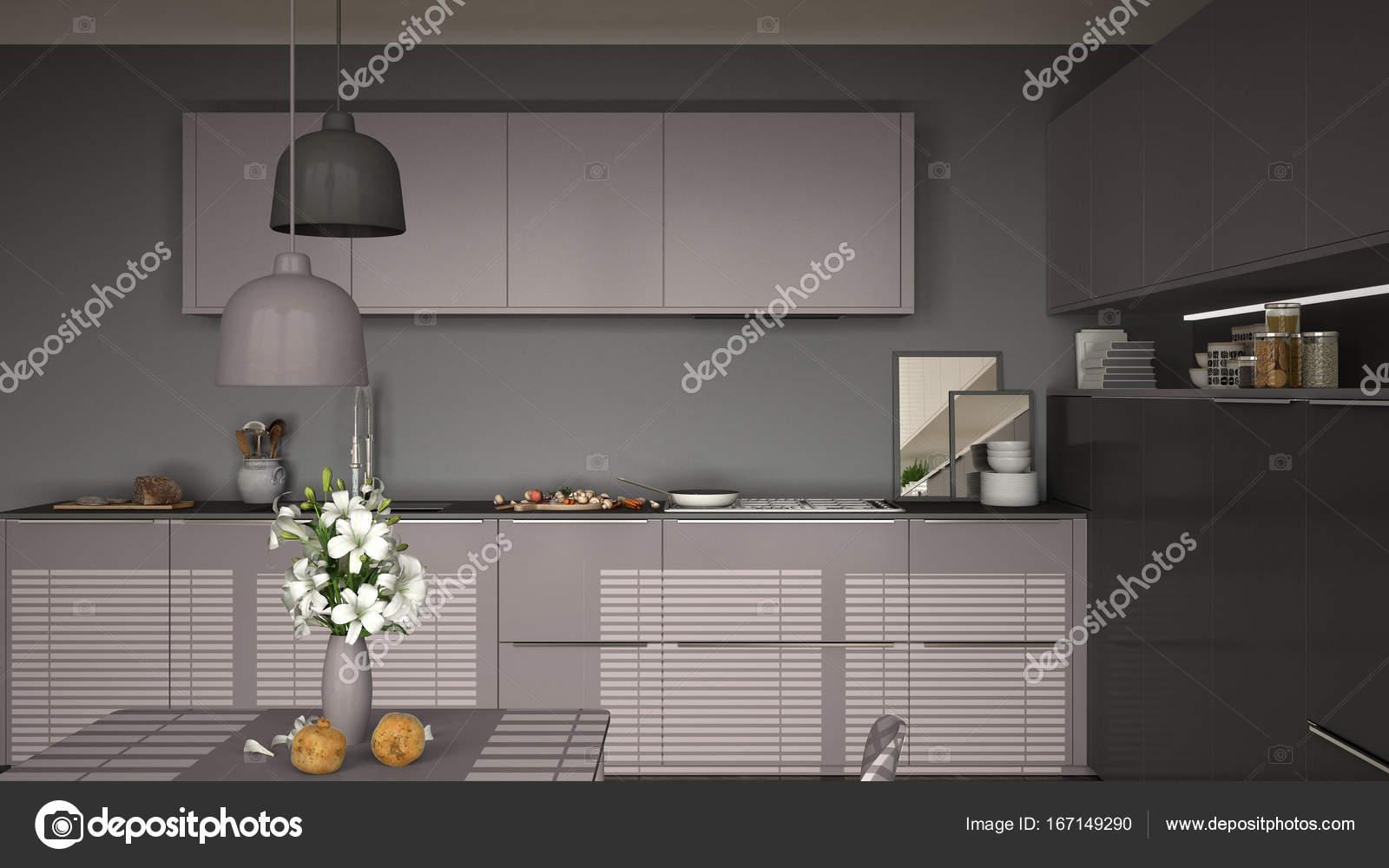 Moderne keuken met tafel en stoelen koken pan en voedsel clos
