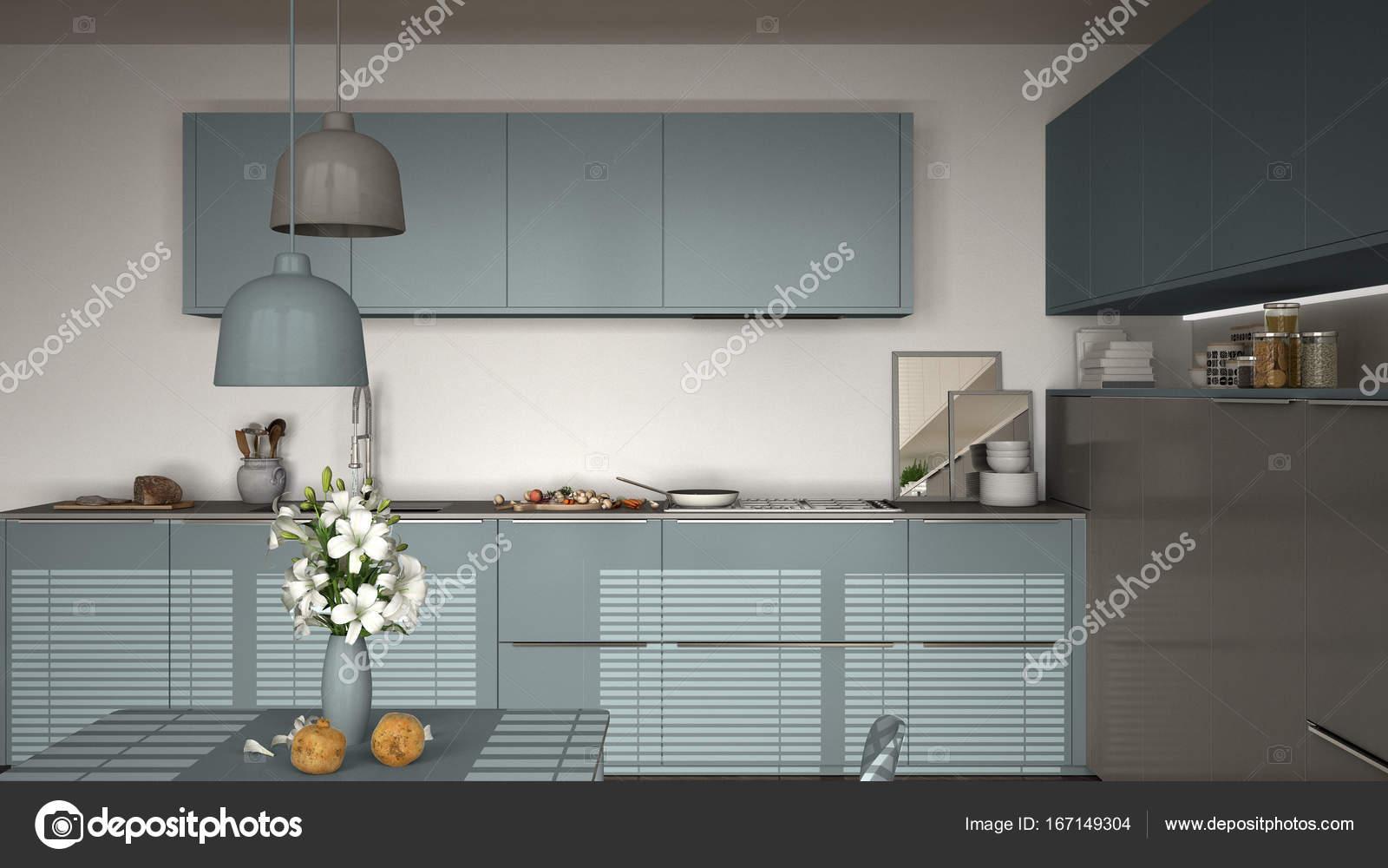 Cozinha Moderna Com Mesa E Cadeiras Cozinha Pan E Comida Clos