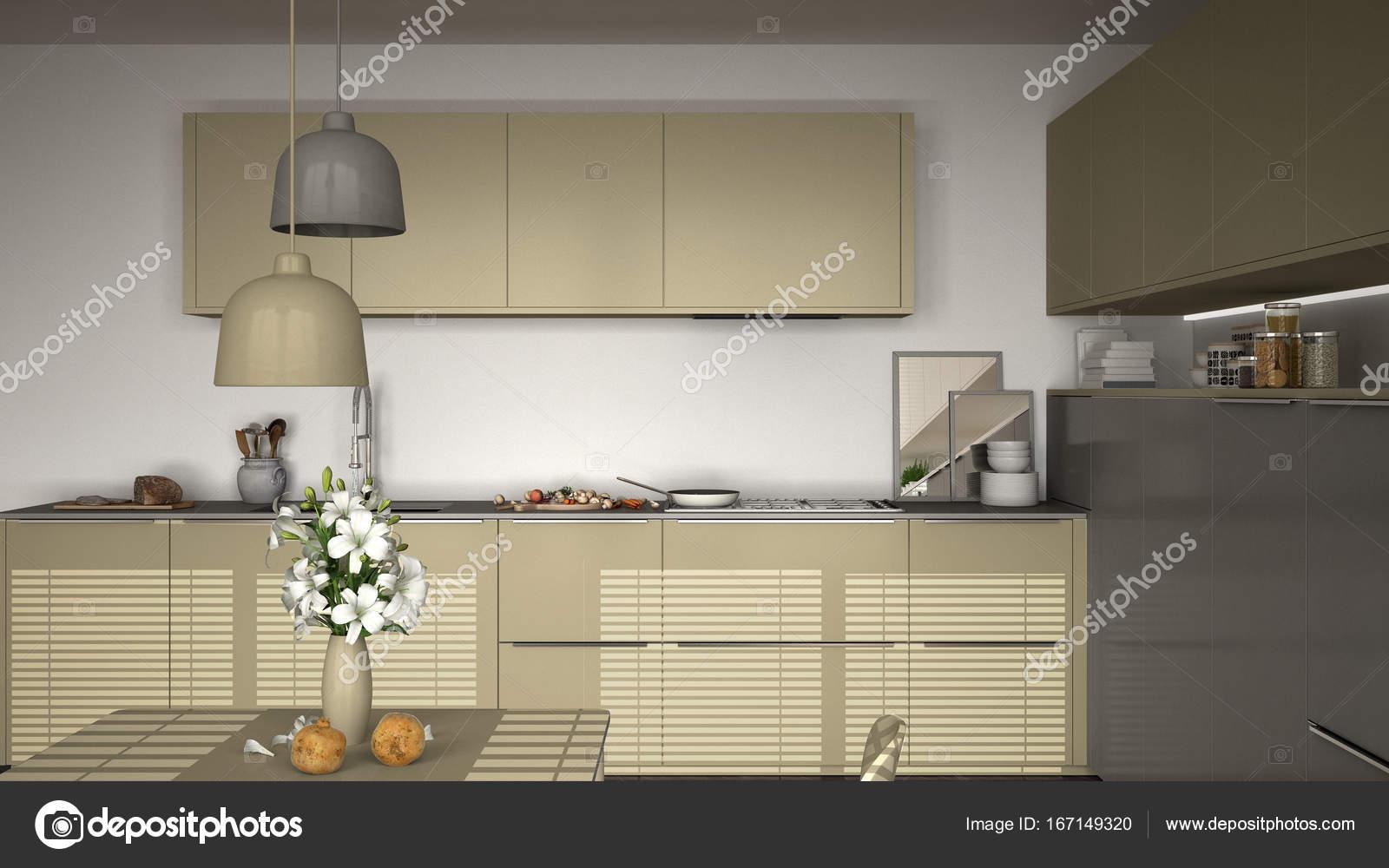 Cocina con mesa y sillas, cocina pan y comida, clos — Foto de stock ...